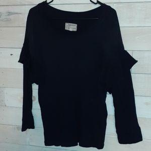 Black ruffled sleeved sweater